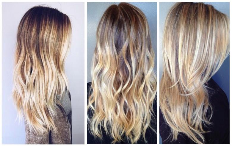 Degrade de couleur cheveux pointes blondes