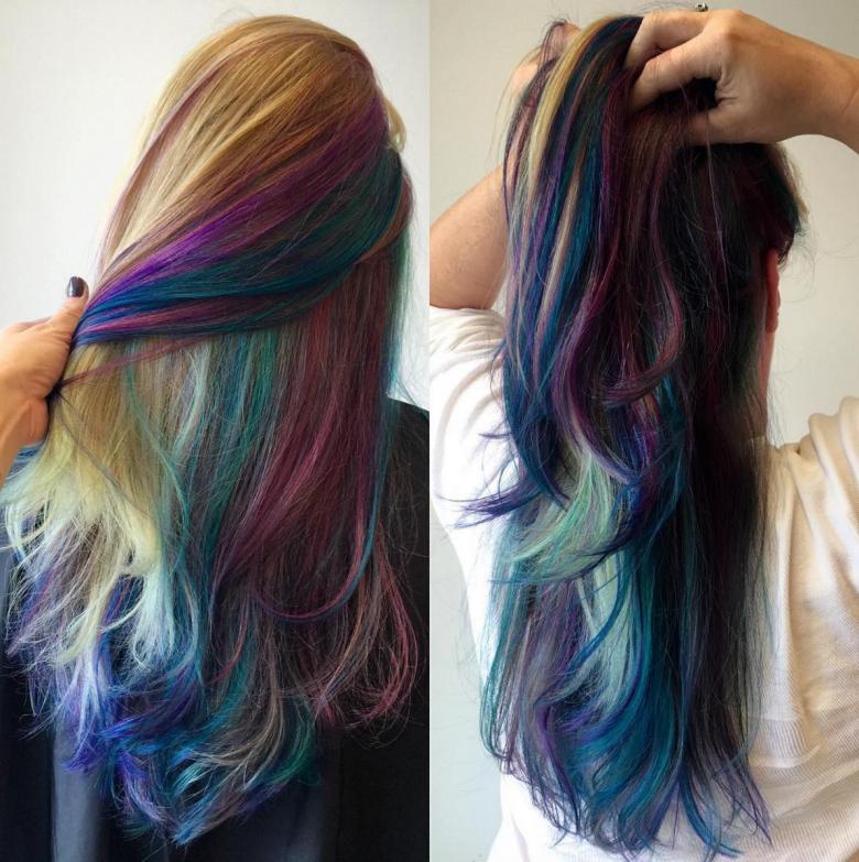 Now Your Rainbow Hair Can Glow In The Dark Under Black ...  |Rainbow Hair Underneath Light