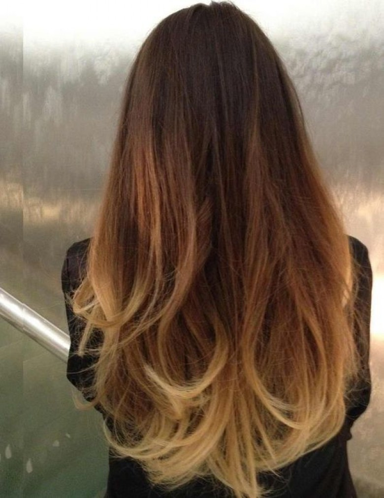 Cheveux chatain tie and dye blond