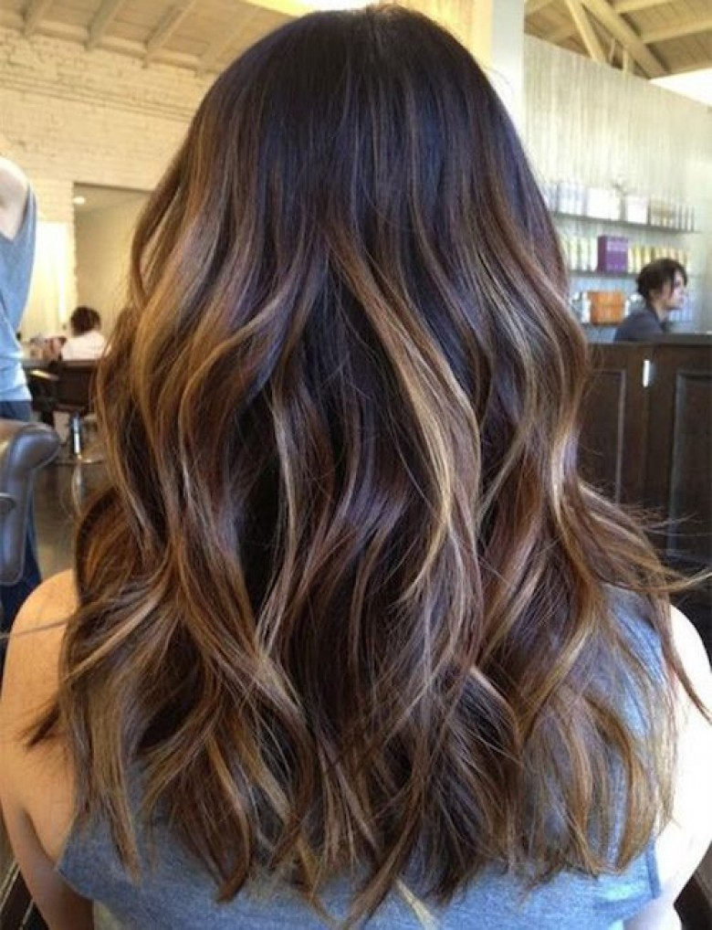 Coloration chatain caramel sur cheveux noirs
