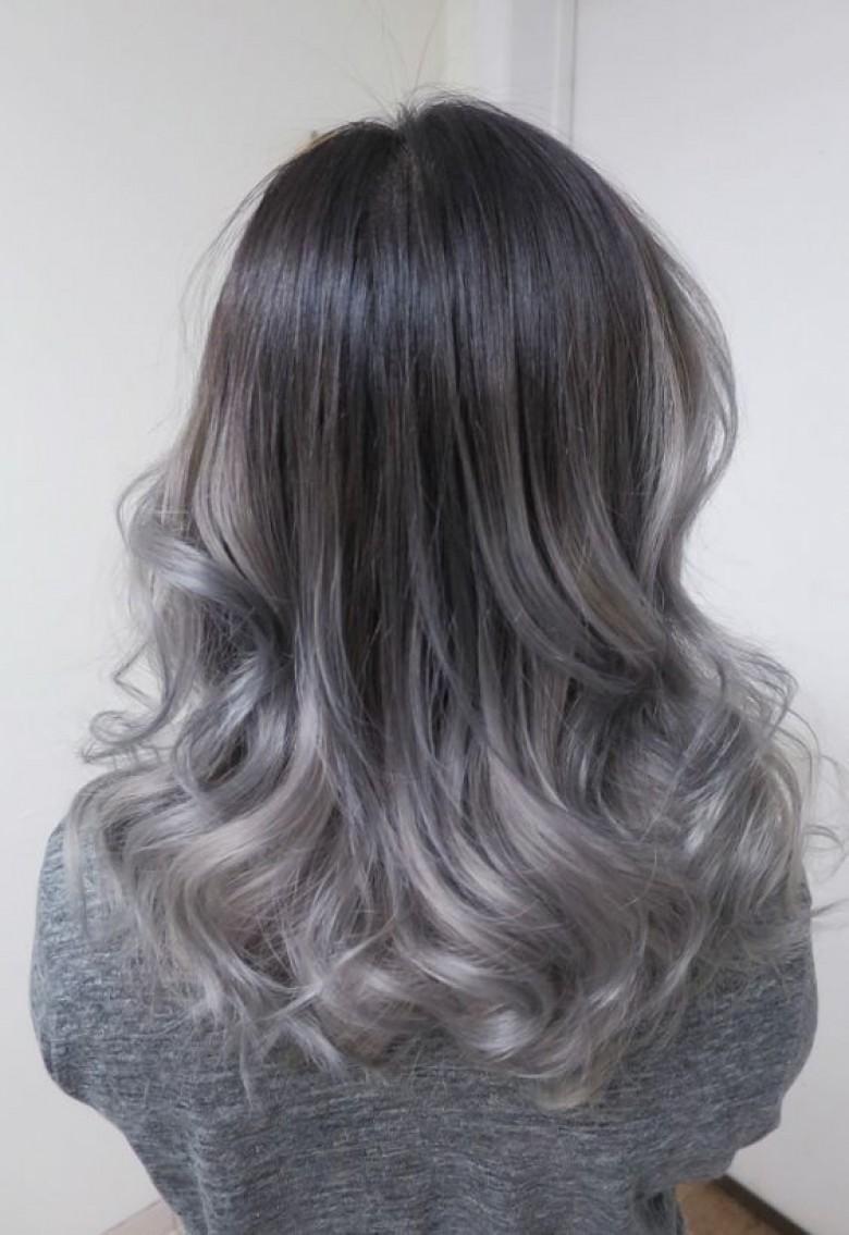 balayage cheveux gris
