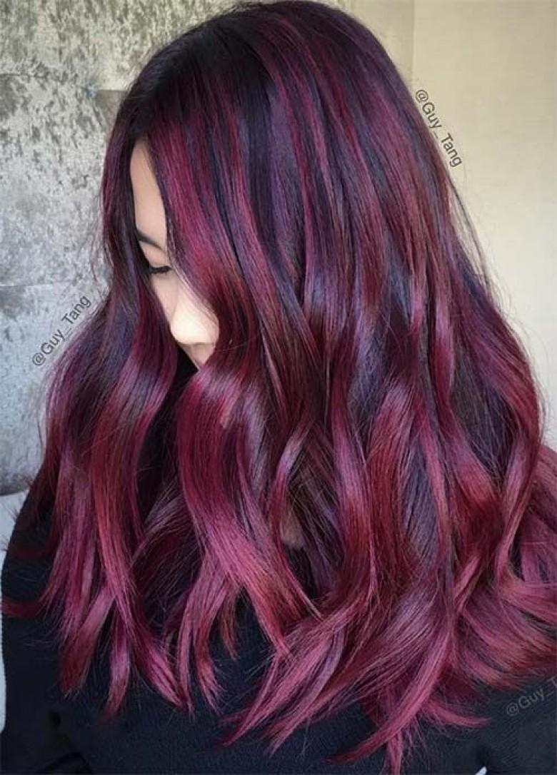 Couleur cheveux rouge aubergine