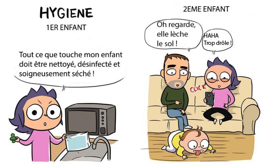 Petites illustrations qui révèlent les différences entre votre 1er et votre 2nd enfant !