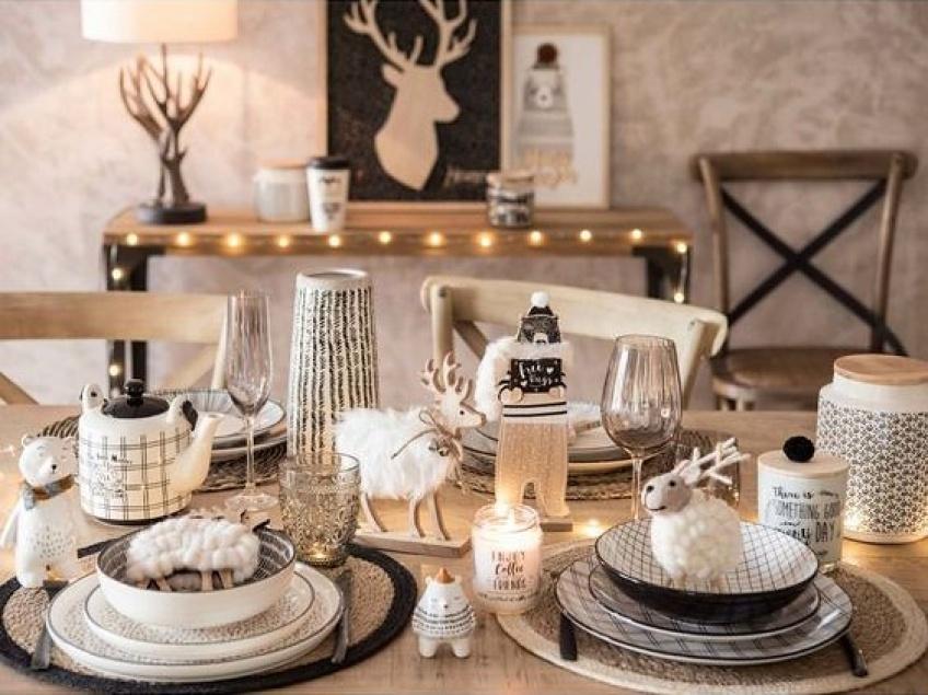 décoration, Noël , bois, scandinave, blanc, fourrure