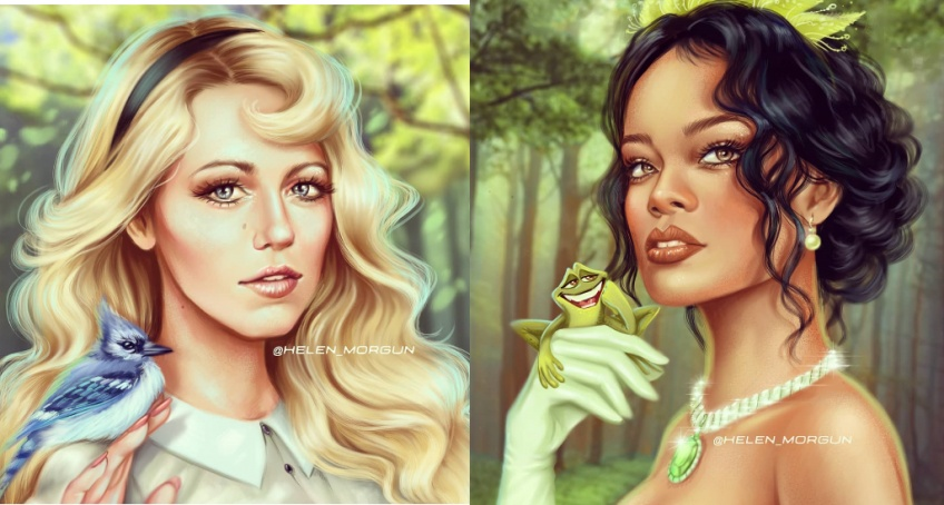 Cette illustratrice transforme nos célébrités préférées en princesses Disney