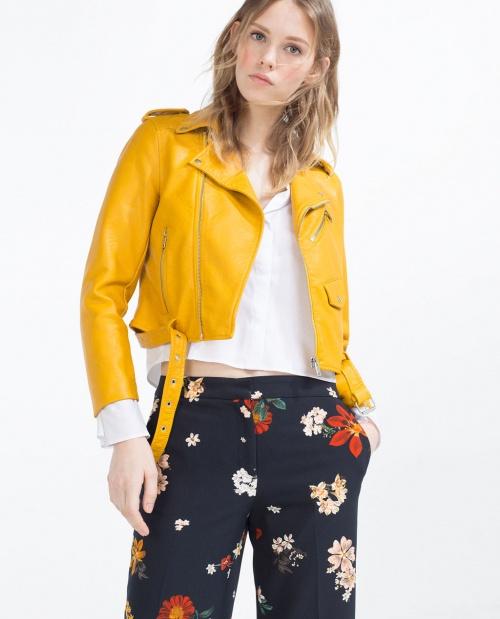 Veste en jean jaune zara