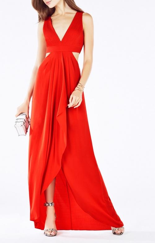 Robe longue rouge bcbg