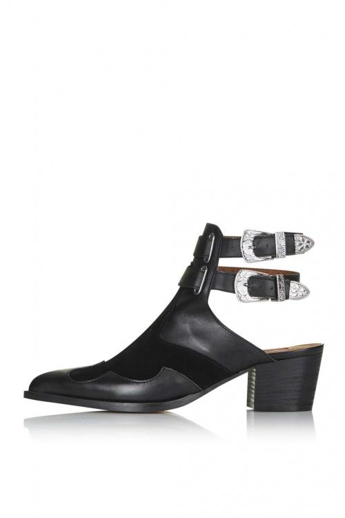 Topshop - Boots noires boucle western