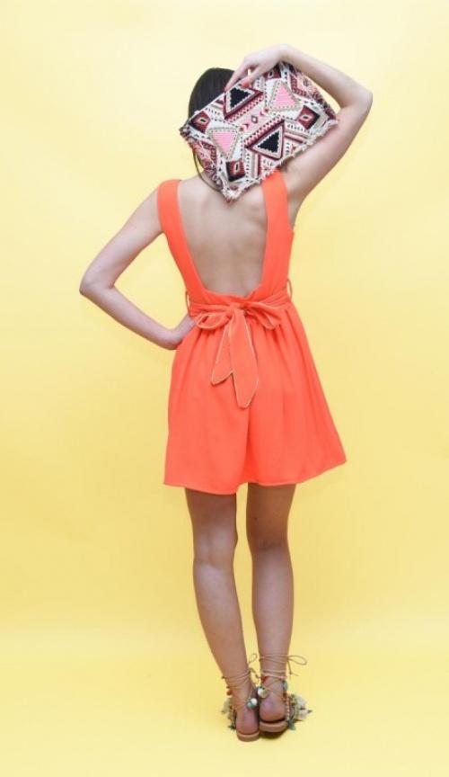 Les Petites Chaudières robe noeud bas du dos orange