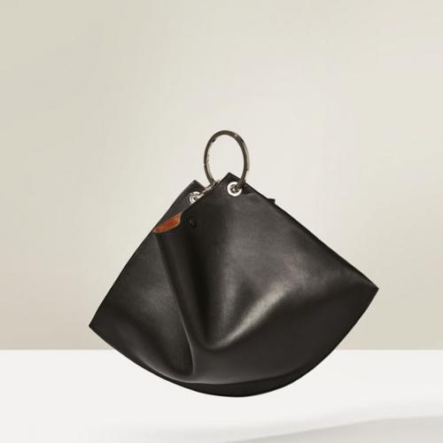 Zara  cabas noir anse rond metal