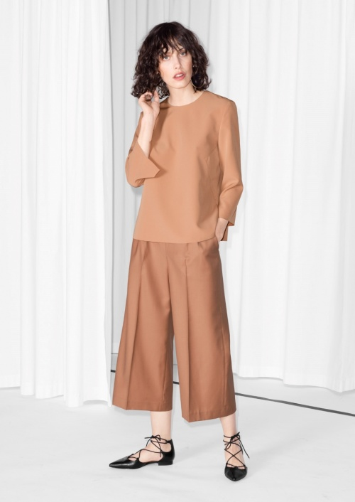 & Other Stories jupe culotte nude