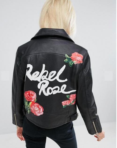 Asos - Veste en cuir avec roses