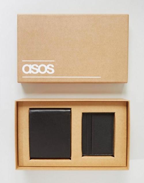 ASOS - Coffret portefeuille et porte-cartes en cuir