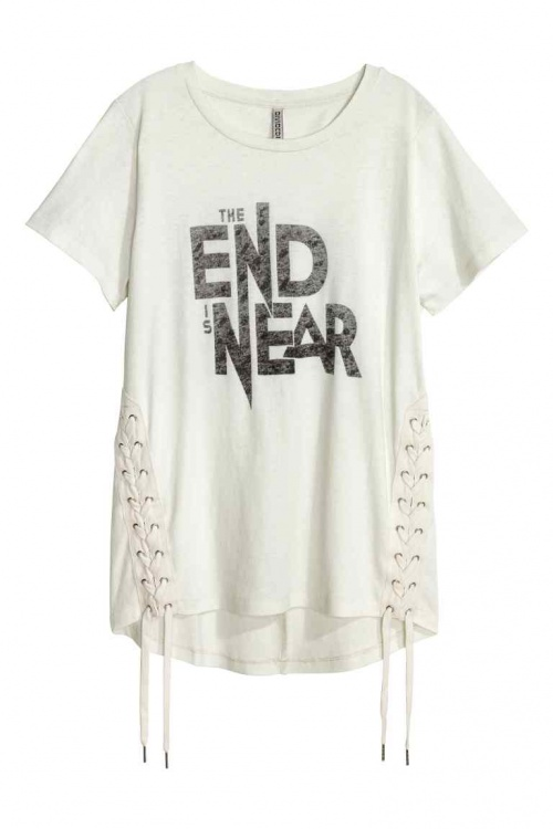 H&M - t-shirt imprimé avec laçage