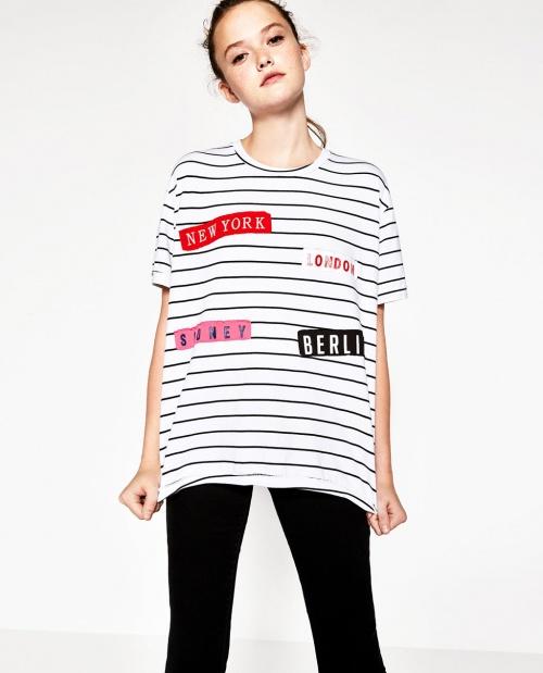 Zara - t-shirt imprimé avec écussons