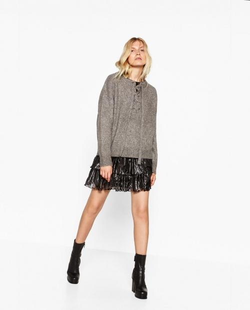 Zara - Pull gris à lacets
