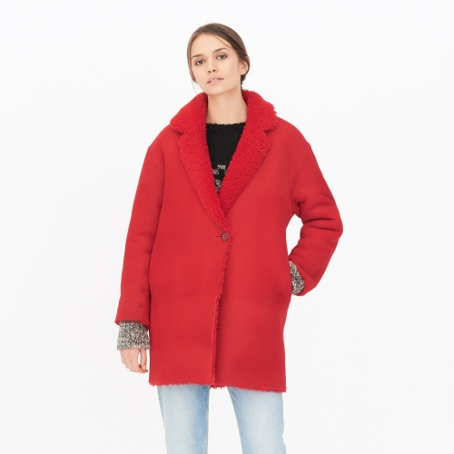 Sandro - shearling rouge