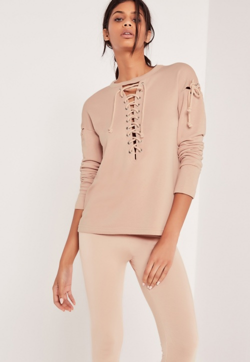 Missguided - Pull rose à lacets