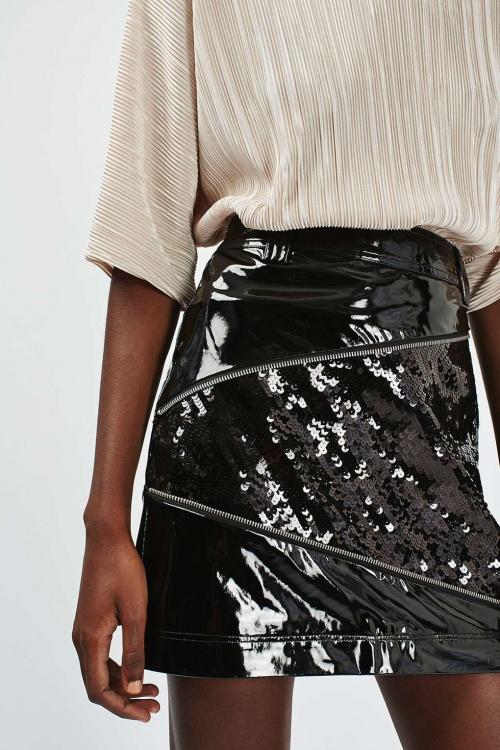 Topshop - Mini jupe cuir et sequins