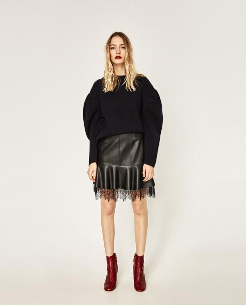 Zara - Jupe en cuir à volants avec détails en dentelle
