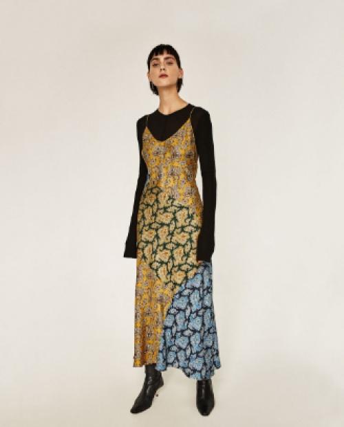 Robe longue type jupon à patchwork et cachemire studio