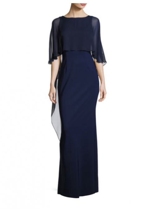 Rickie Freeman for Teri Jon Stretch Crepe Column Gown, Blue
