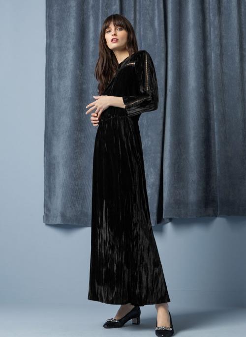 Robe longue noir velours