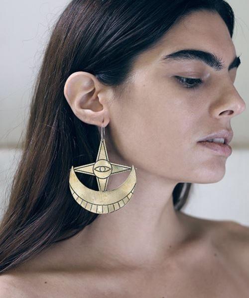 Sanktoleono Jewelry - boucles xxl lune et étoile handmade