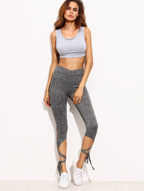 legging gris lacets