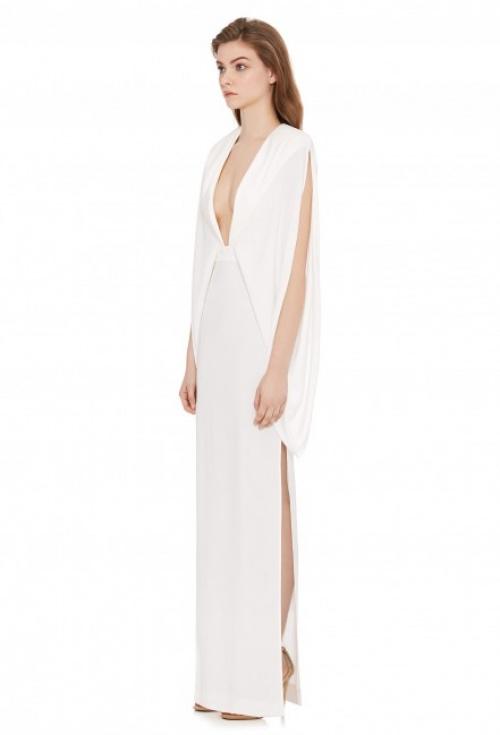 KARO DEEP PLUNGE FRONT MAXI DRESS CREAM WHITE