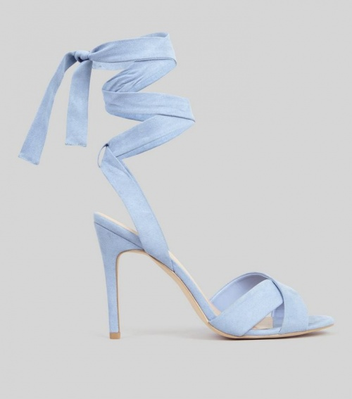 Pale Blue Suedette Tie Up Heeled Sandals