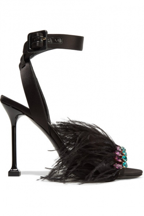 MIU MIU Crystal and feather-embellished satin sandals