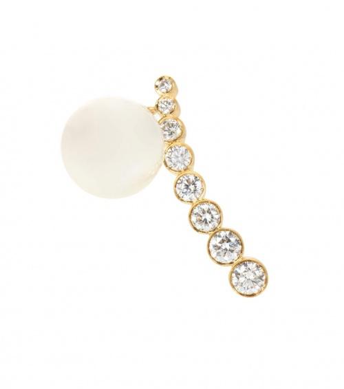 Boucle d'oreille unique en or, perle et diamants Croissant Mer au Sud