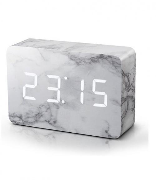 Brique Marbre Click Horloge - LED blanc