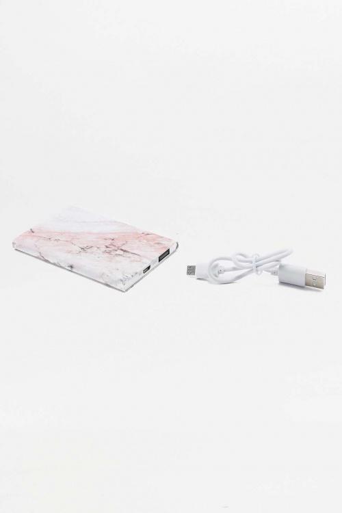 Chargeur de téléphone portable ultra fin rose marbré