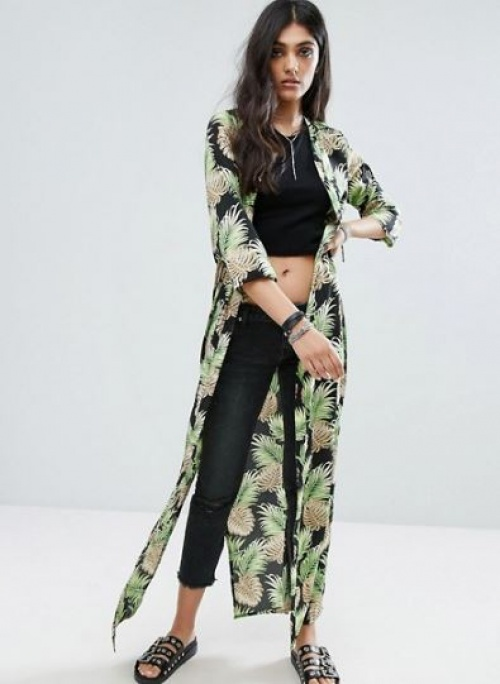 Noisy May Tall - Kimono long à imprimé ananas