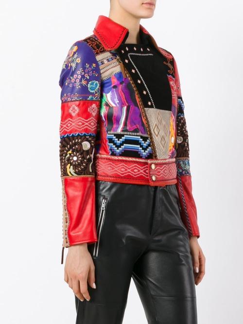 ROBERTO CAVALLI  patchwork biker jacket