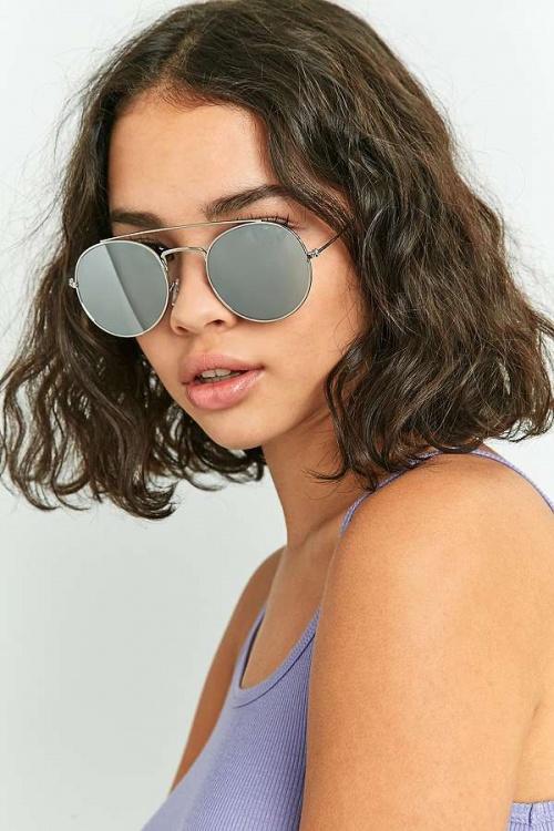 Urban Outfitters - Lunettes de soleil aviateur rondes à montures plates et barre sourcils