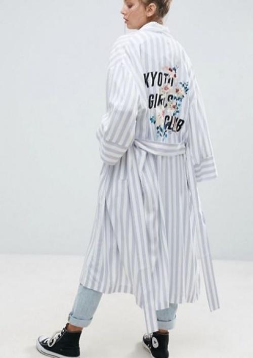 Asos - Kimono à rayures avec dos brodé