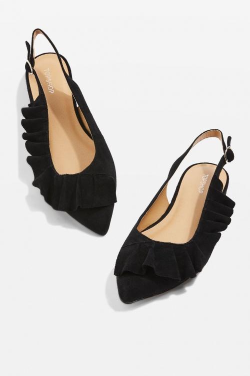 slingback shoes noires en suède