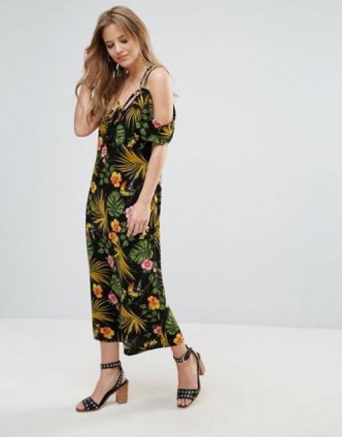 Robe longue imprimée tropicale
