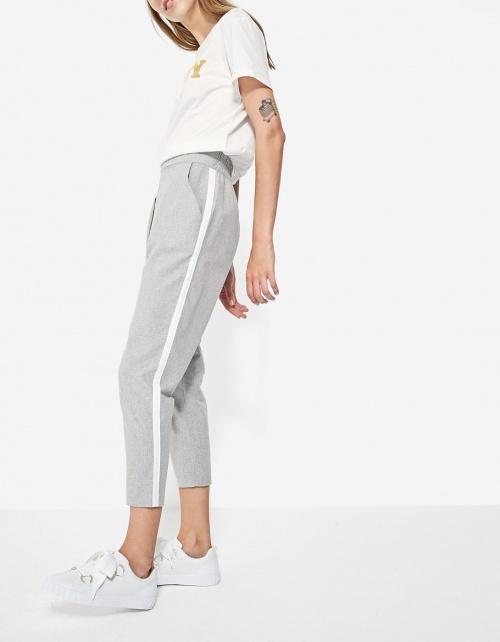 zara pantalon femme avec bande sur le cote