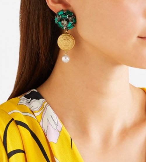 boucles d'oreilles verte dorée