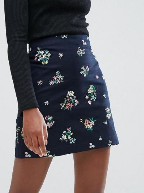 Oasis - Jupe avec petites fleurs brodées