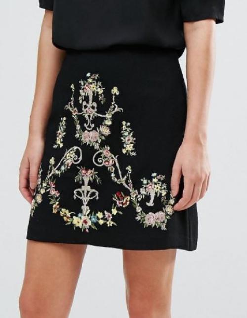Oasis - Mini-jupe trapèze brodée