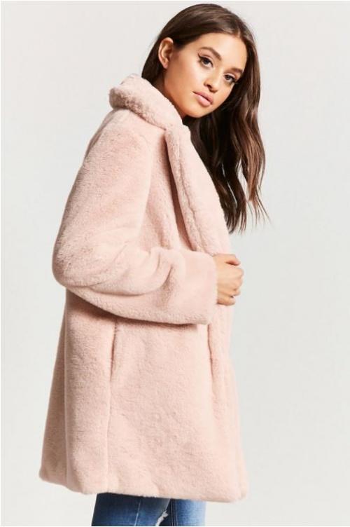Manteau en fausse fourrure rose