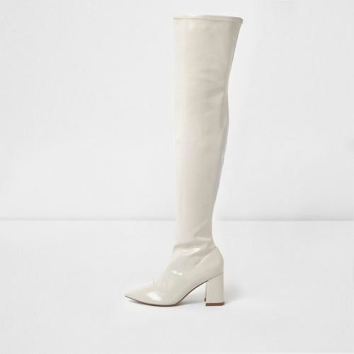 River Island - Cuissardes blanches vernies