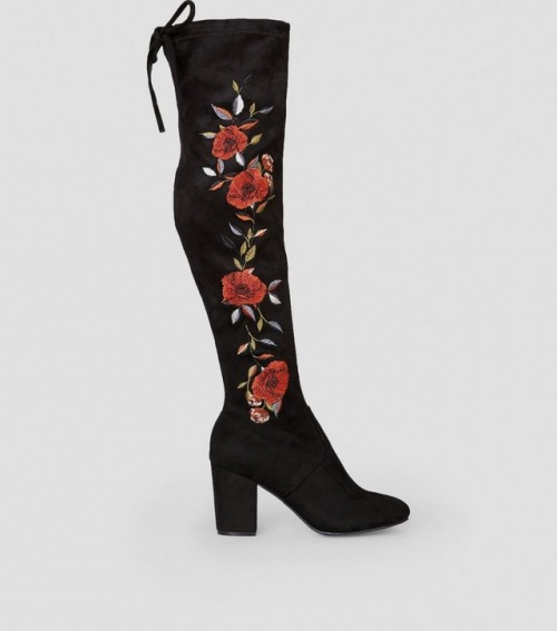 New Look - Cuissardes noires fleuries