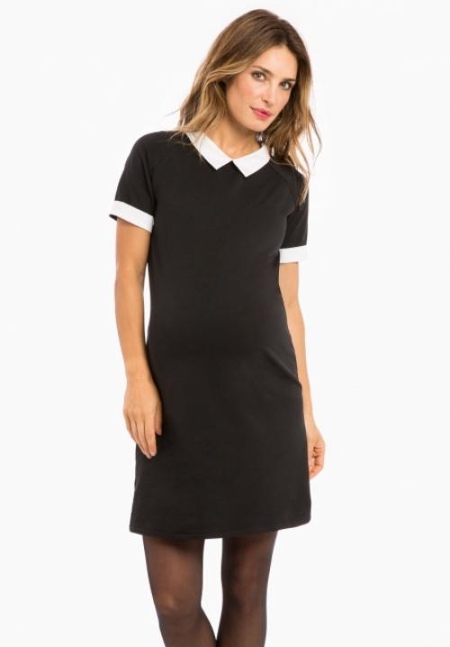 Envie de Fraise - Robe de maternité noire avec col blanc