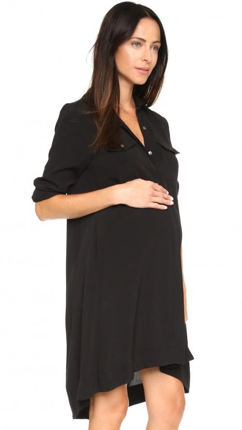 HATCH - Robe chemise noire, maternité